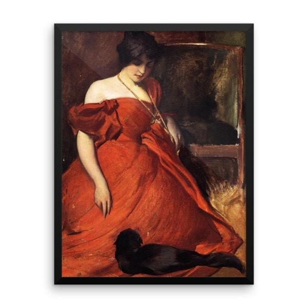 John White Alexander: Black and Red, 19th Century, Framed Cat Art Poster, 24×36