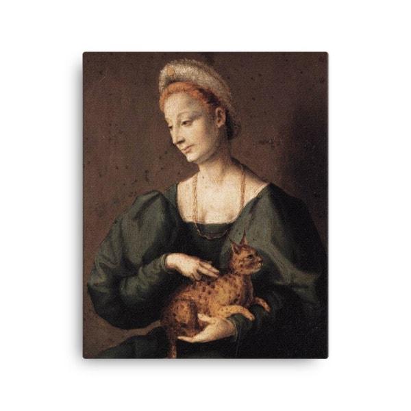 Francesco Bacchiacca: Woman with a Cat, 1540's canvas cat art print, 16×20
