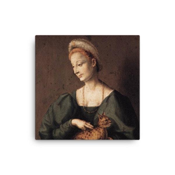 Francesco Bacchiacca: Woman with a Cat, 1540's canvas cat art print, 12×12