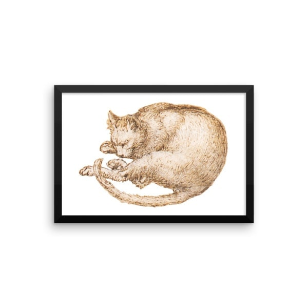Leonardo da Vinci: Drawing of a Cat, 15th Century, Framed Cat Art Poster, 8×10