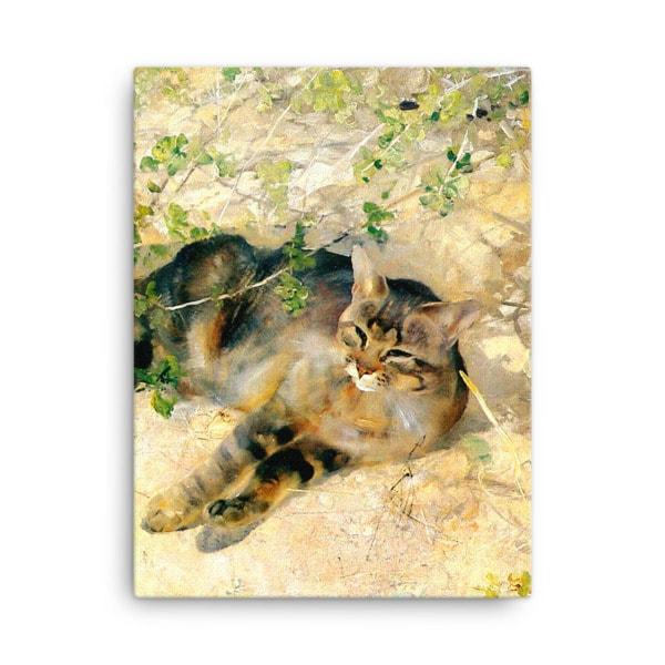 Bruno Liljefors: Sleeping Jeppe, 1886, Canvas Cat Art Print, 18×24