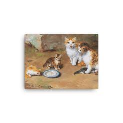 Alfred Brunel de Neuville: Cat Family, Before 1941, Canvas Cat Art Print, 12x16