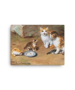 Alfred Brunel de Neuville: Cat Family, Before 1941, Canvas Cat Art Print, 12x16