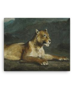 Eugene Delacroix: Lioness Reclining, 1855, Canvas Cat Art Print