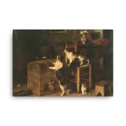Louis Eugene Lambert: Invasion, 19th century, Canvas Cat Art Print,