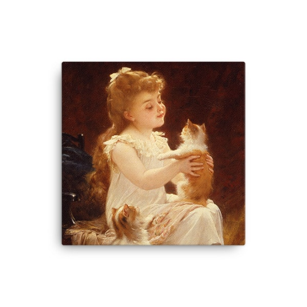 Emile Munier: Playing with the Kitten, 1893, Canvas Cat Art Print, 16×16