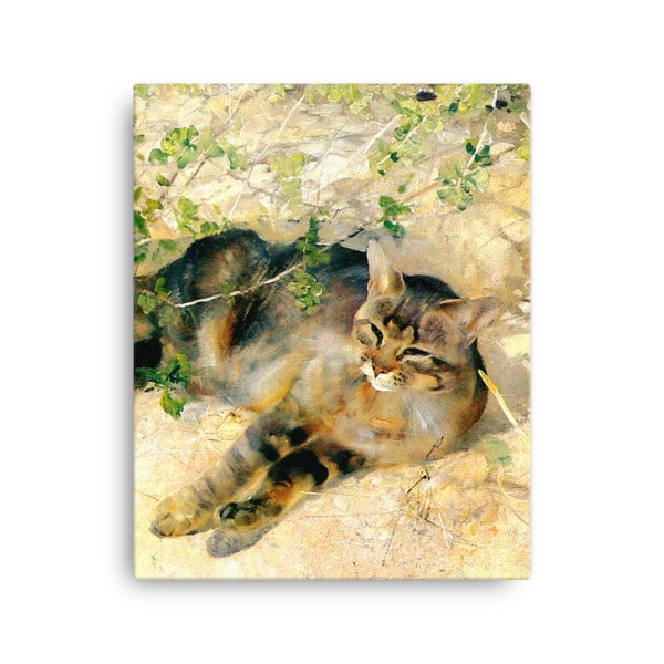 Bruno Liljefors: Sleeping Jeppe, 1886, Canvas Cat Art Print, 16×20