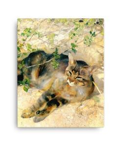 Bruno Liljefors: Sleeping Jeppe, 1886, Canvas Cat Art Print