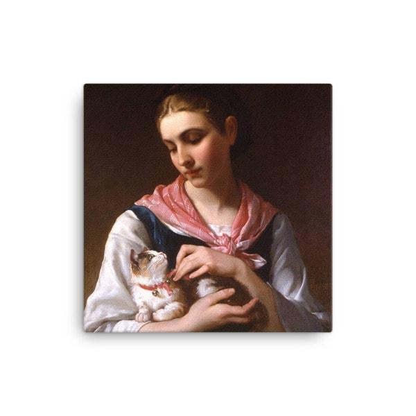 Emile Munier: The Favourite Kitten, 1874, Canvas Cat Art Print, 16×16
