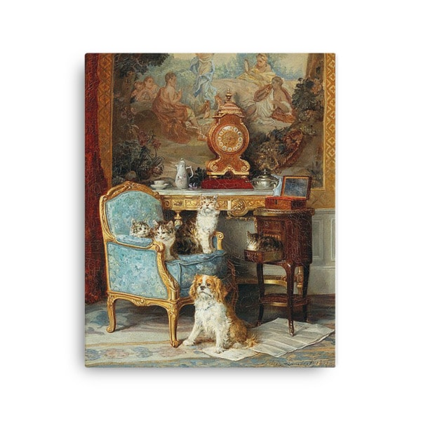 Louis Eugene Lambert: Family of Cats and Dog in the Salon, 1893, Canvas Cat Art Print, 16×20