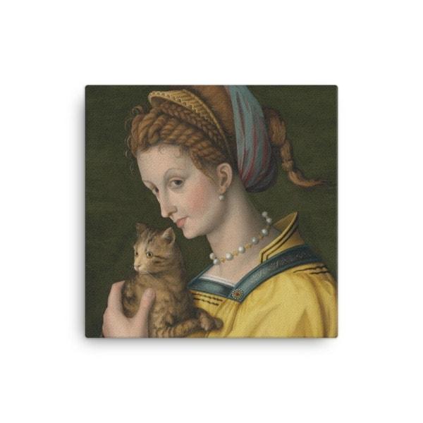 Francesco Bacchiacca: Portrait of a Young Lady Holding a Cat, 1525-30,canvas cat art print, 16×16