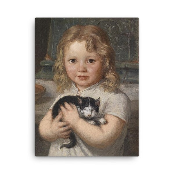 Georg Teibler: Girl with Kitten, Before 1911, Canvas Cat Art Print, 18×24