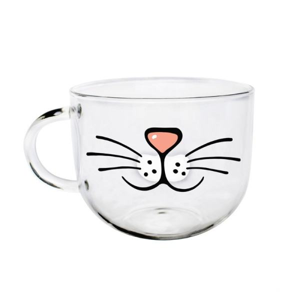 Cat Face Coffee Tea Glass Mug