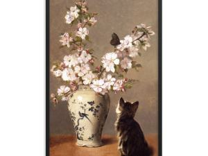 John Henry Dolph: The Butterfly, 1870, Framed Cat Art Poster