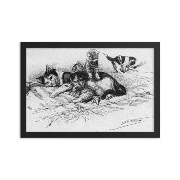 German Illustration of Cat and Kittens, 1889, Framed Cat Art Poster, 12×18