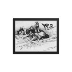 German Illustration of Cat and Kittens, 1889, Framed Cat Art Poster