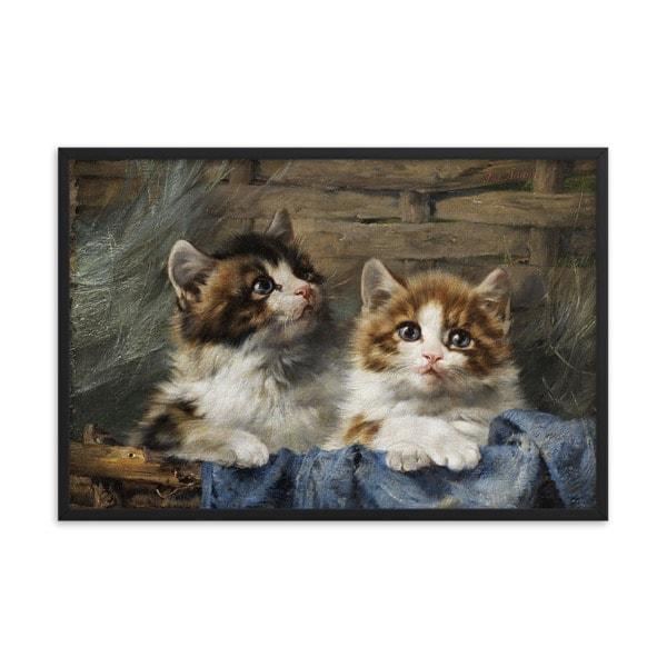 Julius Adam: Two Kittens, 1913, Framed Cat Art Poster, 24×36