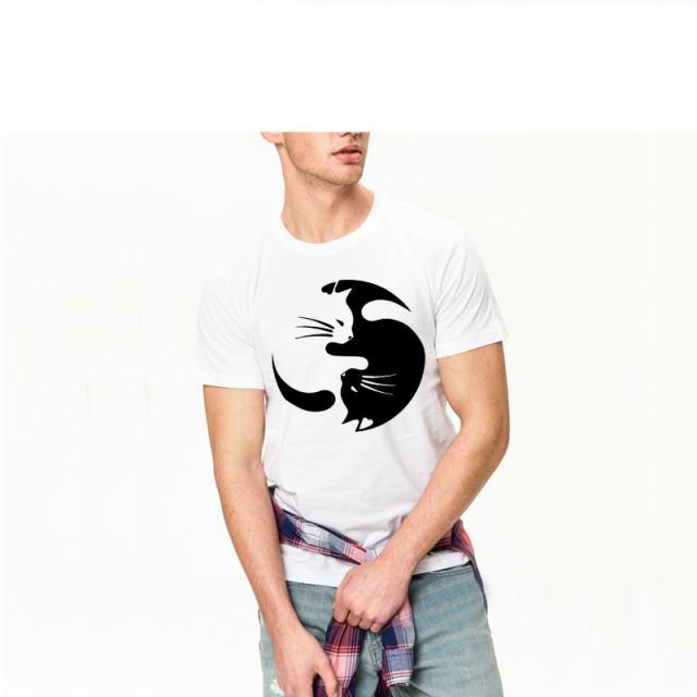 Men's Ying Yang Cat Design T-Shirt