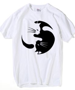 Men's Ying Yang Cat Design T-Shirt