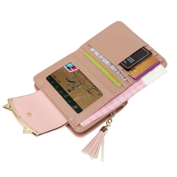 Women's Leather Trifold Slim Small Cat Design Wallet