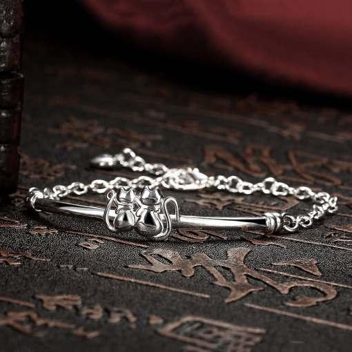 Cat Lady Silver Plated Bracelet Bangle