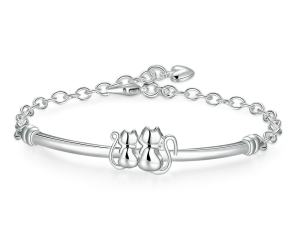 Cat Lady Silver Plated Bracelet Bangle
