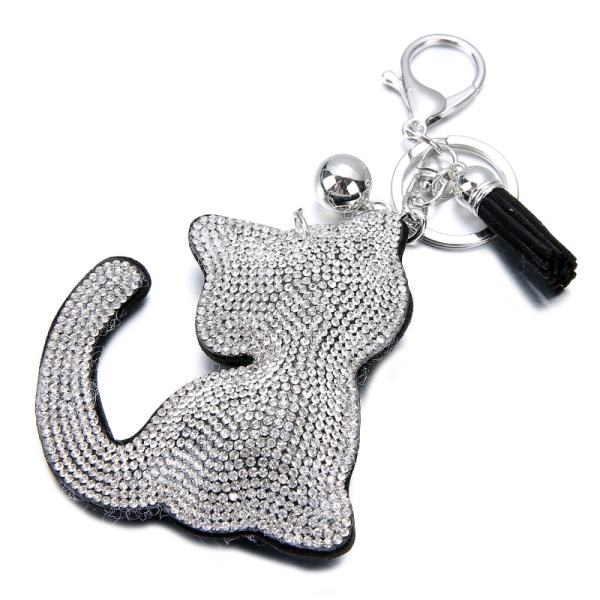 Silver, Gold Colored Rhinestone Cat Shaped Key Chain