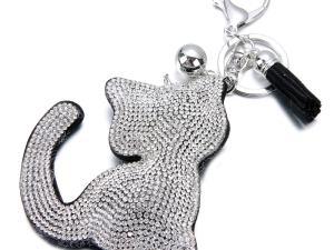 Silver, Gold Colored Rhinestone Cat Shaped Key Chain