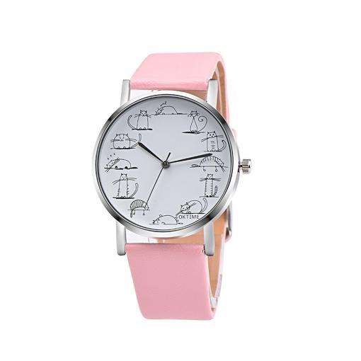 Ladies Cat Design Quartz Wrist Watch