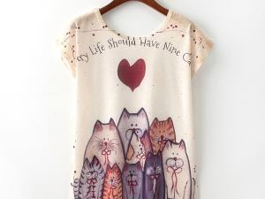 Short Sleeve Cat Print T-Shirt Top