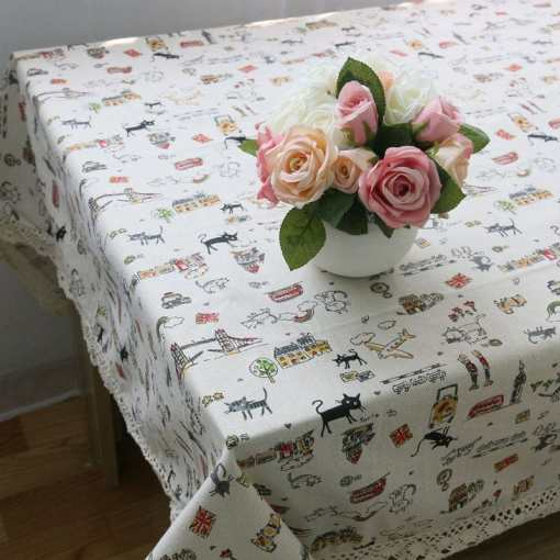 Decorative Cat Patterned Cotton Linen Table Cloth