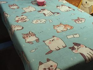 Cotton Linen Blend Cat Design Table Cloth