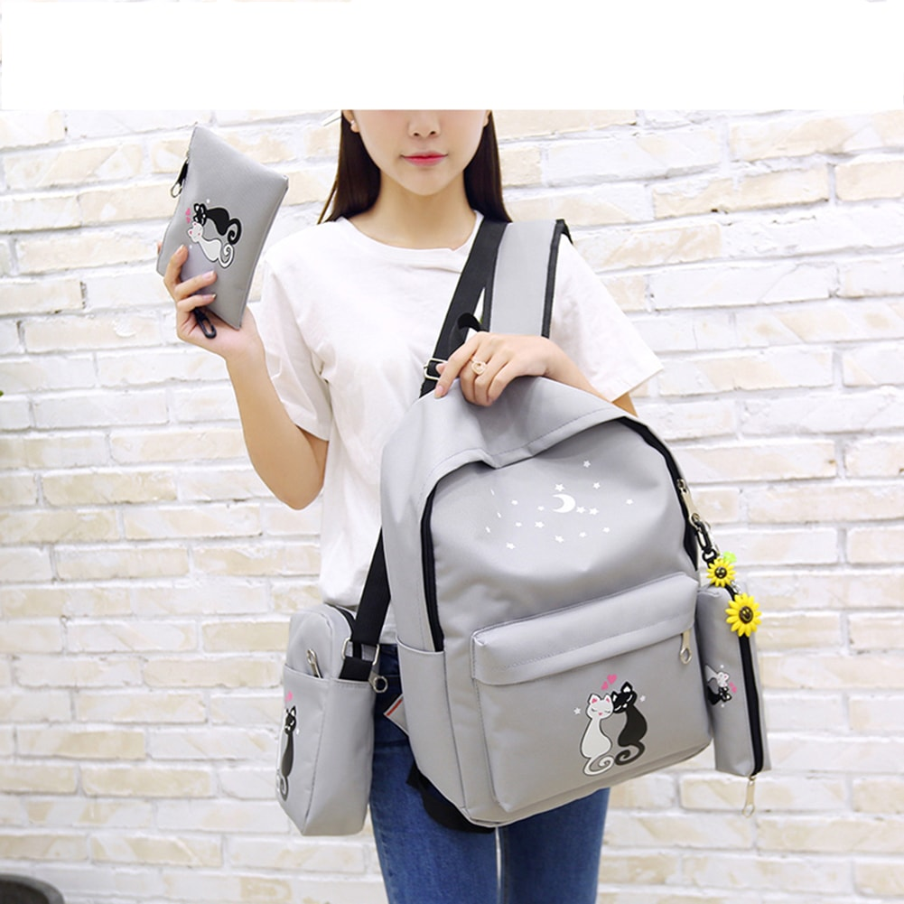 Cute Cat Canvas 4 PC Set Backpack-Schoolbag