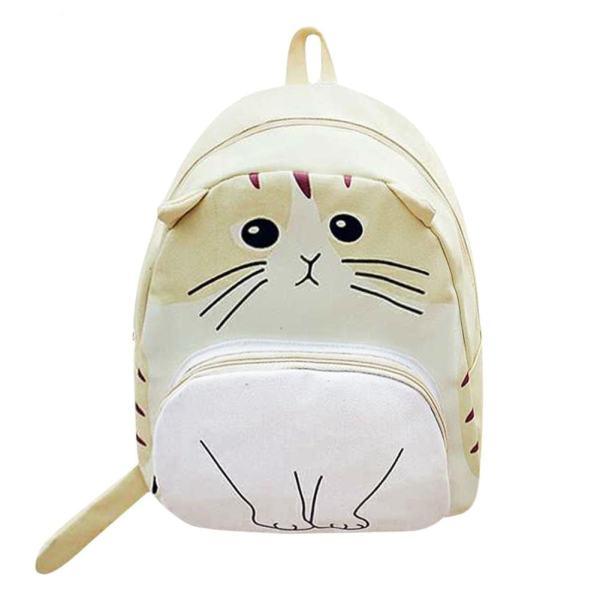 Lovely Canvas Cat Backpack School Bag