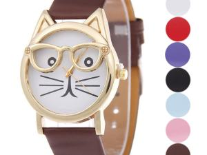 Cute Cat Face Glasses Quartz Wrist Watch