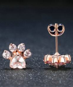 Rose Gold Pink Cat Paw Stud Earrings at The Great Cat Store