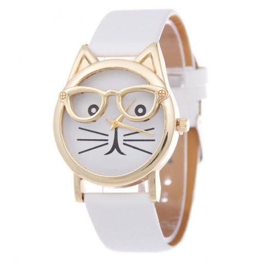 Cute Cat Face Glasses Quartz Wrist Watch