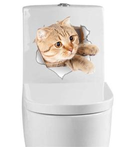 Cat 3D Bathroom Toilet Decorative Decals Stickers at The Great Cat Store