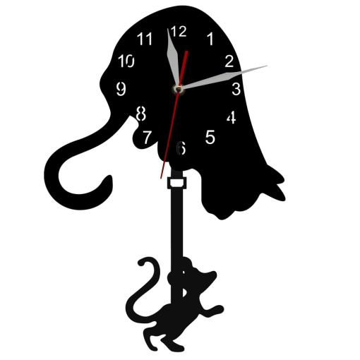 Black Cat and Mouse Swinging Pendulum Wall Clock