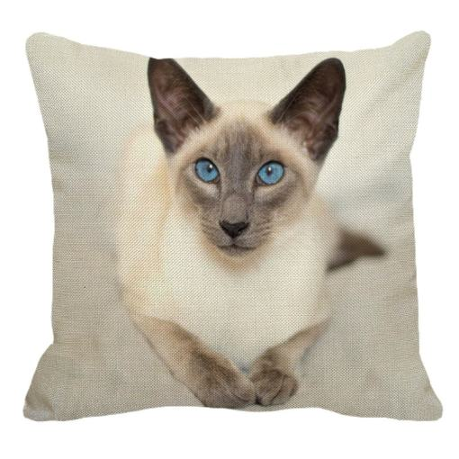 Siamese Cat Linen Decorative Pillow Case at The Great Cat Store