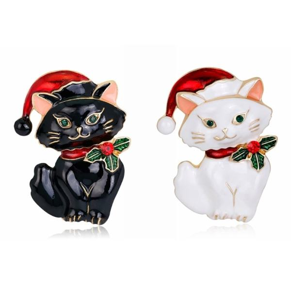 Cute Christmas Cat Brooch Pin at The Great Cat Store