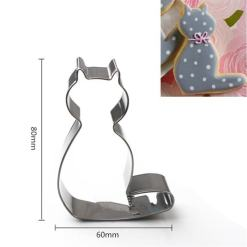 Cute Cat Shaped 5pc Set Stainless Steel Cookie Cutters at The Great Cat Store