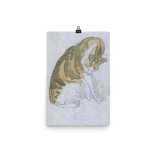 Gwen John: Cat Cleaning Itself, 20th Century, Poster 12x18