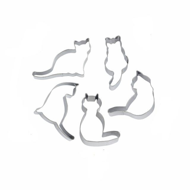 Cute Cat Shaped 5pc Set Stainless Steel Cookie Cutters