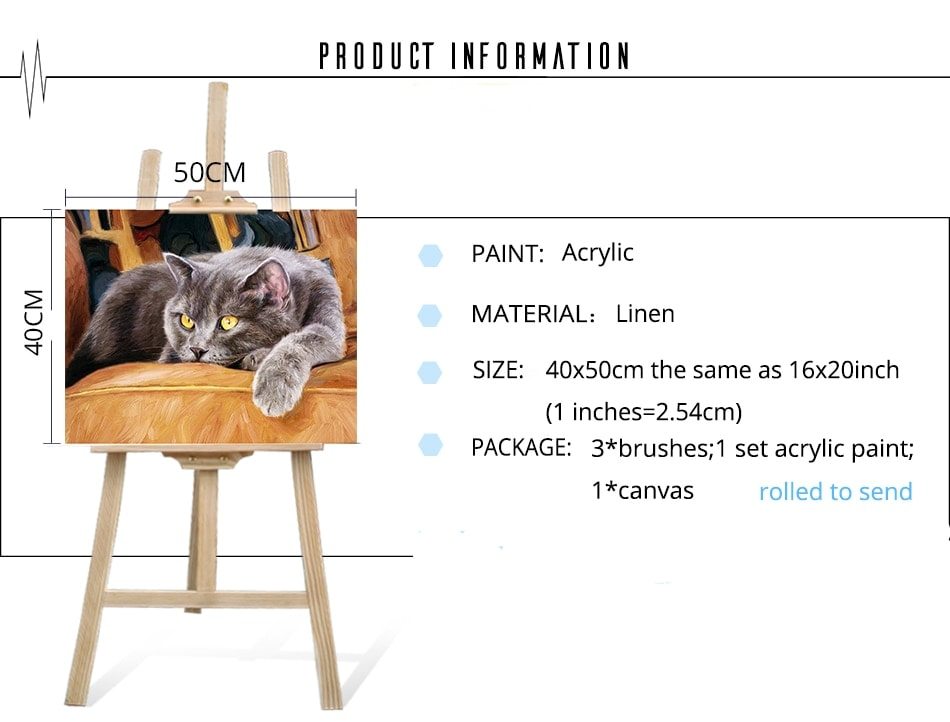 British Shorthair Cat DIY Acrylic Paint By Numbers Kit