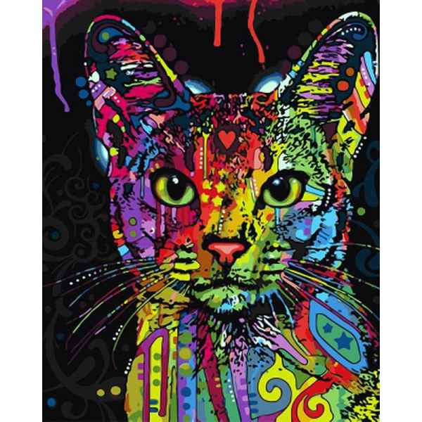 Unframed Abstract Colorful Cat DIY Paint By Numbers