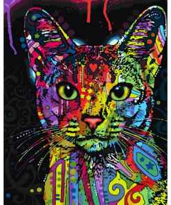 Unframed Abstract Colorful Cat DIY Paint By Numbers at The Great Cat Store