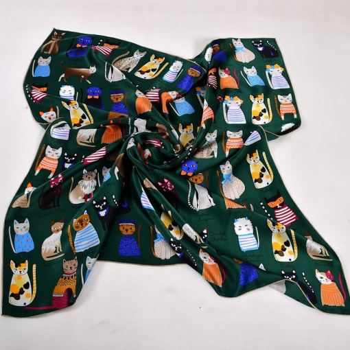 Cat Design Women's Square Silk Scarf at The Great Cat Store