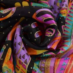 Long Colorful Cat Design 100% Silk Scarf at The Great Cat Store