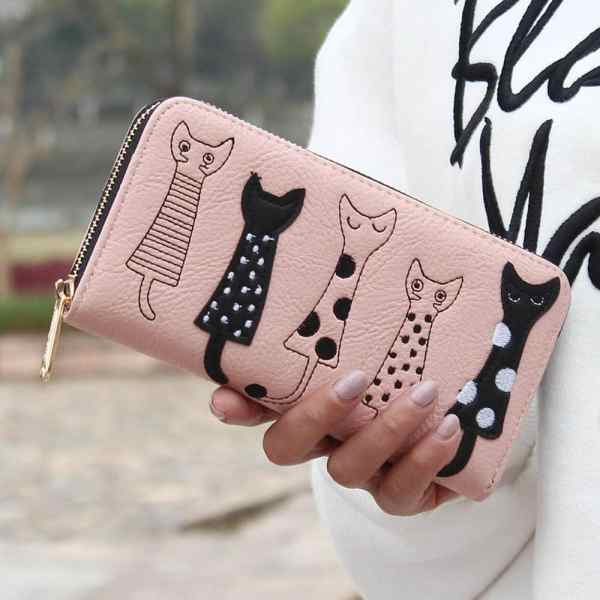 Luxury Cat Design Long Wallet Pink